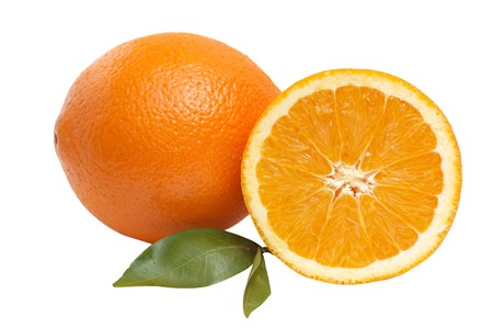 Ripe, juicy  oranges with green leaves isolated on a white background. Stock Photo