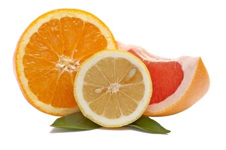 Juicy,ripe ,fresh citrus fruits isolated  on a white background. Stock Photo