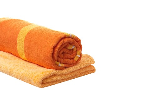orange washcloth: Two wonderful towels isolated on a white background.