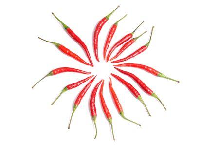 Ripe piment rouge isol� sur un fond blanc.