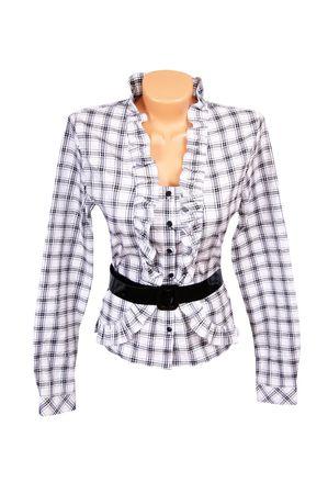 Stylish white-grey blouse isolated on a white background. Stock Photo - 5968405