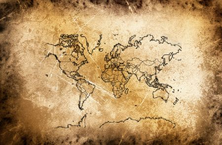 Ancient map of the world at the vintage texture.