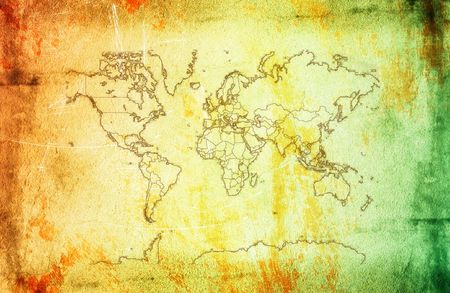 Vintage map of world on the wonderful texture. Stock Photo - 6055003