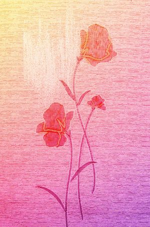 gobelin tapestry: Gentle poppies on the wonderful canvas background. Stock Photo