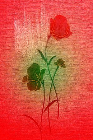 Embroidered poppies on the wonderful canvas background. photo