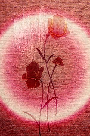 Stylish,embroidered poppies on the wonderful canvas background. photo