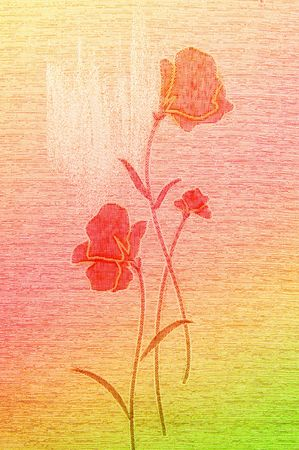 Embroidered,gentle poppies on the wonderful canvas background photo