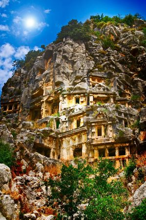 Antique,historical tombs  in the mountains near Myra town. Turkey.  photo
