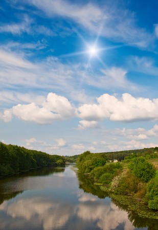 Nice view of wonderful river and sky. Stock Photo - 7037631