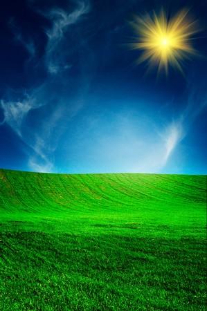 unusually: Unusually fun sun above spring field.