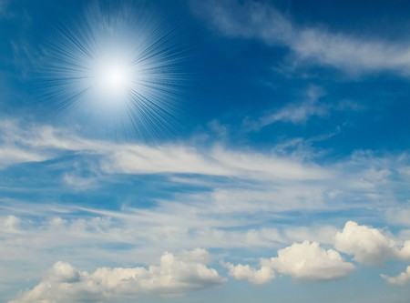unusually: Unusually sun and fine blue sky with clouds.