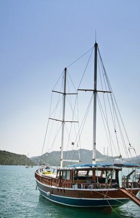 Bay in mediterranean sea with yachts in the Kekova. Turkey.  photo