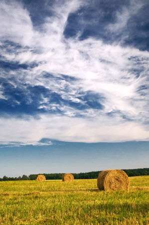 Field, three bales and amazing blue sky with white clouds. photo