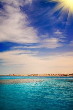 Wonderful view of sea and construction  in the Sekalla area of Hurghada, Egypt photo
