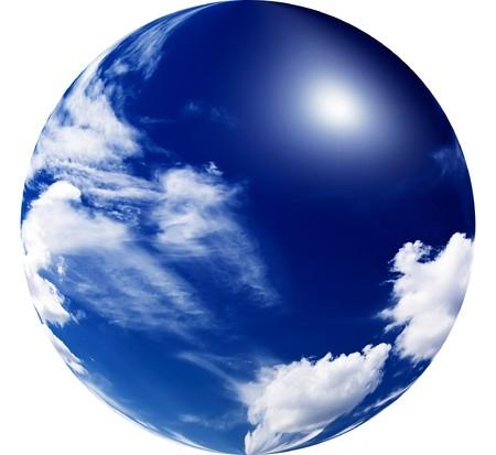 soleil rigolo: Beau ciel bleu avec nuages et fun soleil.  Banque d'images