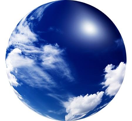 Beautiful blue sky with clouds and fun sun. Stock Photo - 7899556