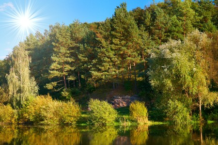 Wonderful view of autumnal lake. photo