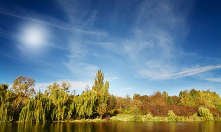 Silence on the wonderful autumn lake. photo