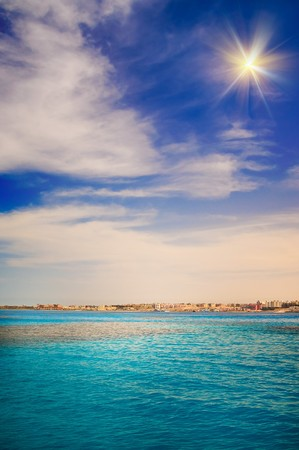 Wonderful view of sea and construction  in the Sekalla area of Hurghada, Egypt. photo