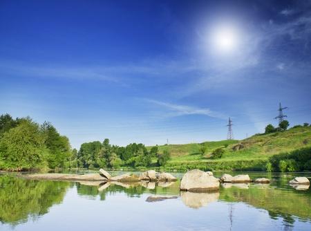 Wonderful river ,blue sky and bright sun. photo
