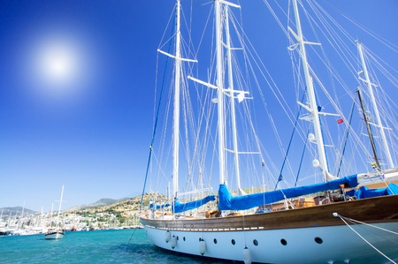 aegean: Splendid yachts at coast Aegean sea.