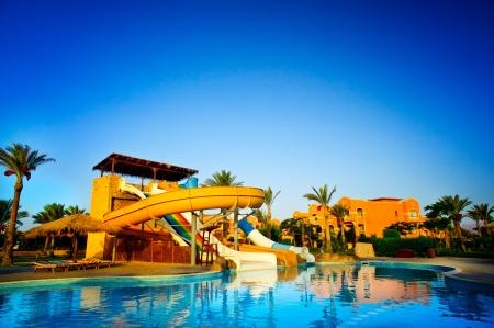 WATER SLIDE: Aquapark in the exotic resort  Egypt  Editorial
