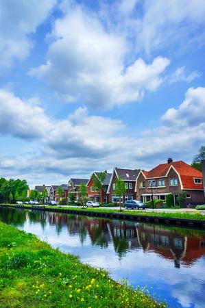 assen: Dull Assen with canal.  Holland.