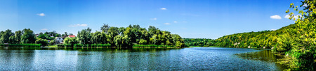 tranquilly: Amazing blue lake  and sky with clouds.