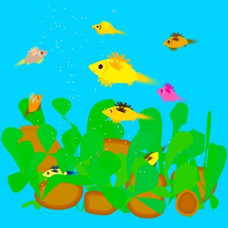Illustration of fish feeding in the aquarium Stock Photo