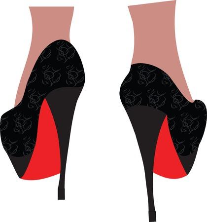Female legs in fashion high heel shoes. Illustration.