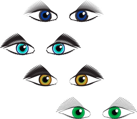 Set of style eyes in different colors, isolated on white.