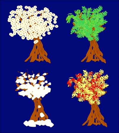 The Set of Four Seasons Trees Background. Illustration