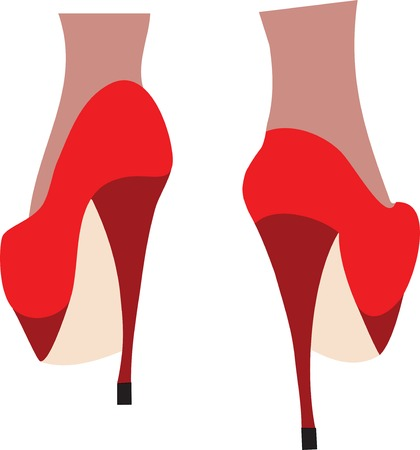 sheer: Female legs in fashion high heel shoes. Vector illustration.