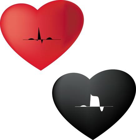 Vector cardiogram Icon normal & cardiac infarction