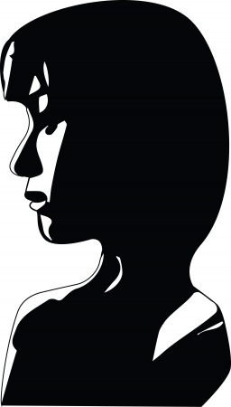 Silhuette Side profile of sad woman face Illustration