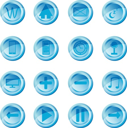 The blue vector set button icons for web, apps and players