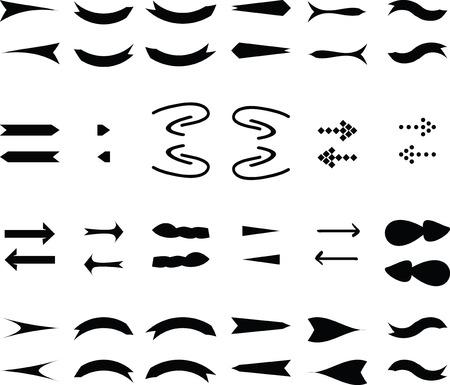 Black Vector Arrows Icons Set.