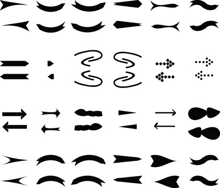 arrowheads: Black Vector Arrows Icons Set.