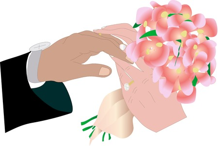 Vector illustrarion of exchanging wedding rings ceremony