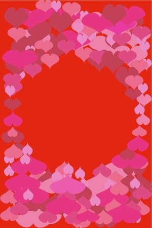 Valentines card with colorful hearts. Vector illustration.
