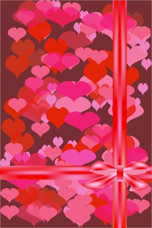 Valentines card with hearts and a bow. Vector illustration.