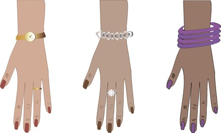 vector illustration: women hands with nails, watch & bracelets Vector