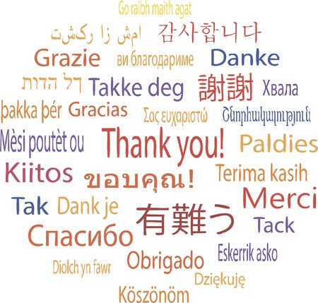 Thank You in many languages, vector illustration Illustration