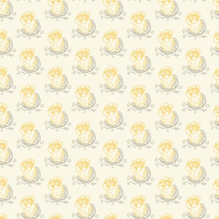A chicken trying get out the egg  Vector seamless pattern illustration  Illustration
