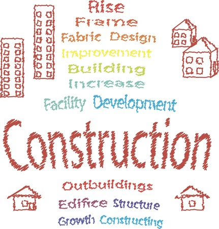 Constraction concept: text with buildings, scribble vector illustration. Illustration