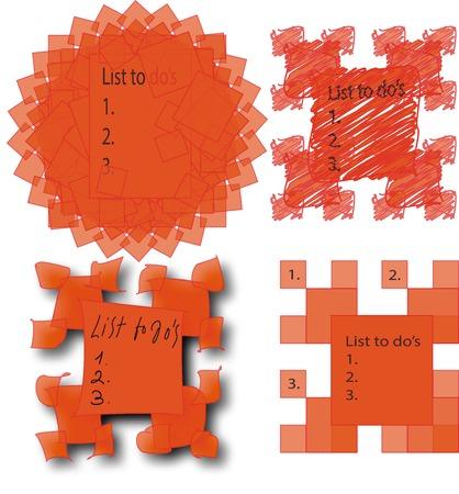 Vector illustration of set of orange sticky papers