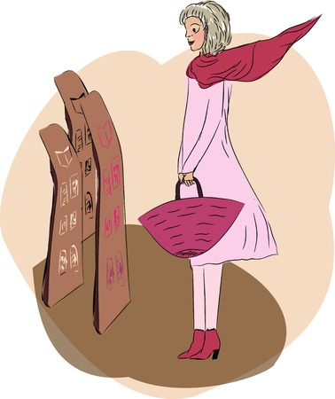 Female with a bag shopping newspapers and magazines  Vector illustration  Illustration