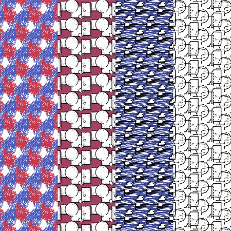 Set of four scribble pattern. Vector illustration.n Illustration