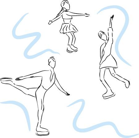 Hand drawn vector sketch illustration of scating people. Illustration