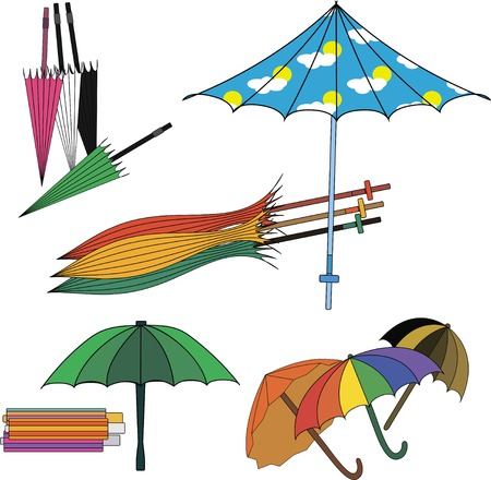 Set of different colourfull umbrellas. Vector illustration. Vector